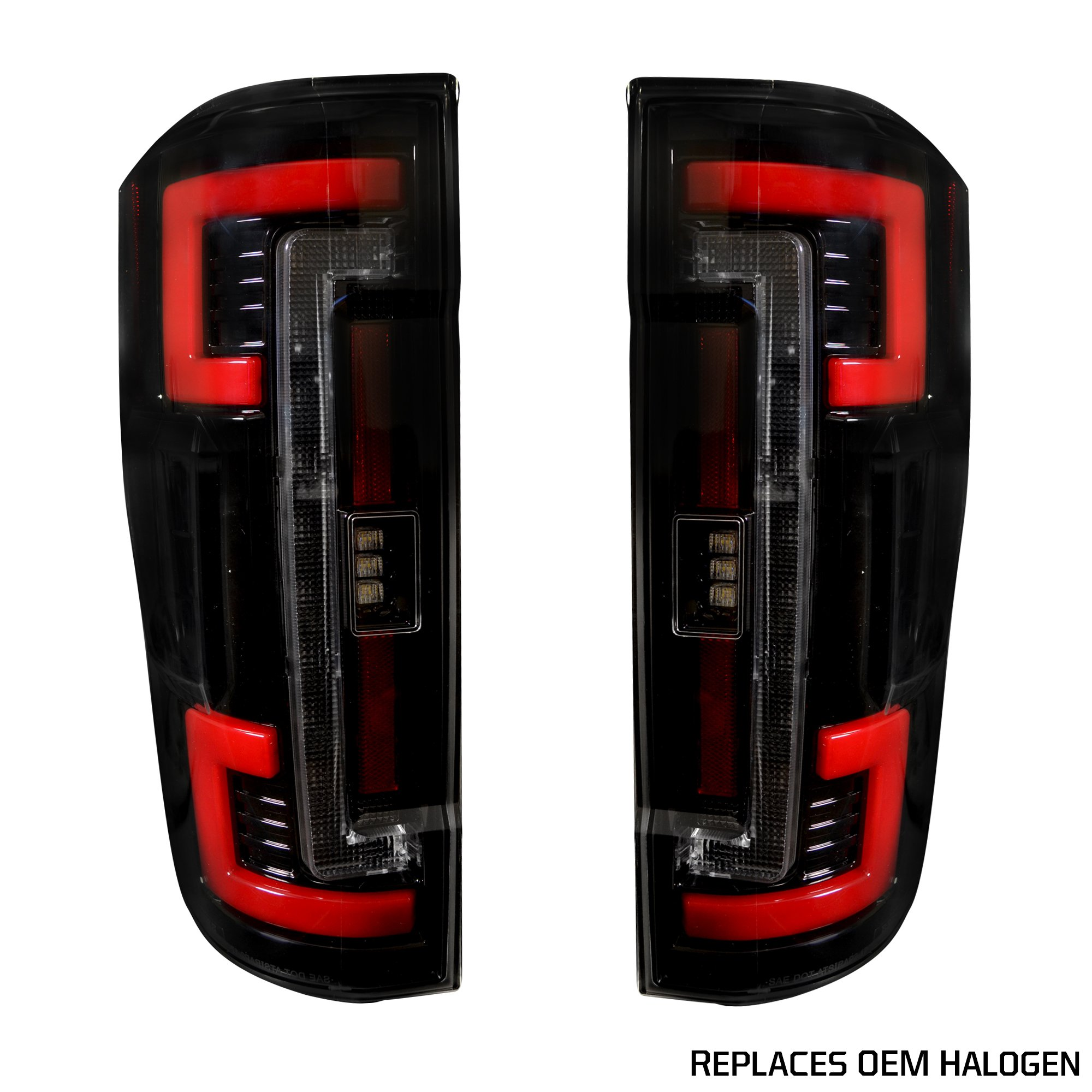 Recon 264299bk Ford Superduty F250 350 450 550 17 18 Replaces Oem Halogen Style Tail Lights With Or Without Blis Blind Spot Warning System Oled
