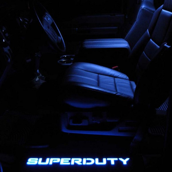 Ford Super Duty 99-16 Illuminated Door Sill Black Finish Blue Illumination 5