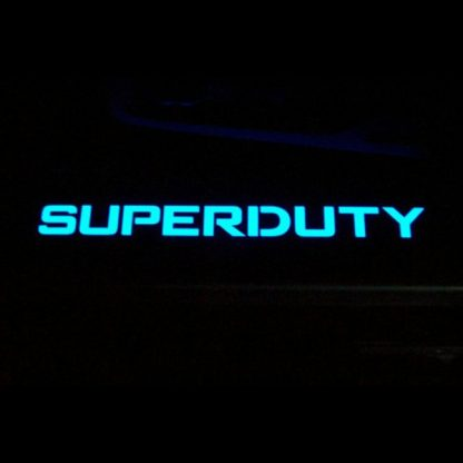 Ford Super Duty 99-16 Illuminated Door Sill Black Finish Blue Illumination 4