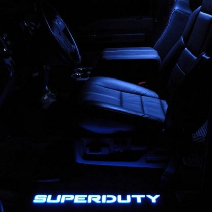 Ford Super Duty 99-16 Illuminated Door Sill Black Finish Blue Illumination