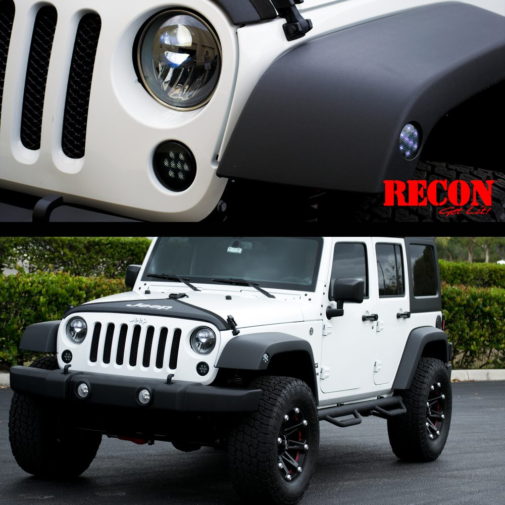 Jeep JK Wrangler 07-18 Round Front Turn Signal Fender Light White LED Smoked