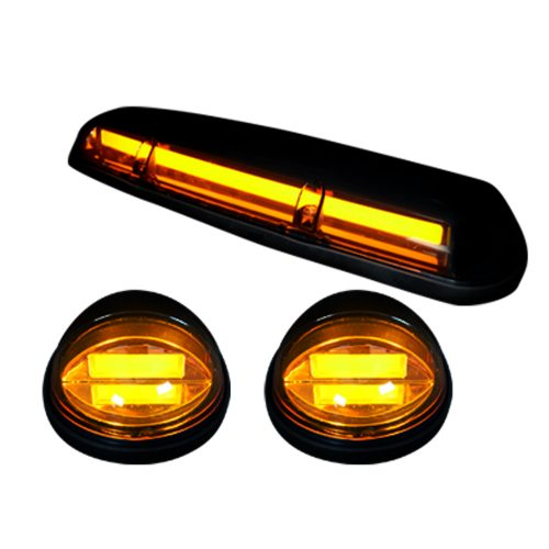 GMC & Chevy 02-07 Heavy Duty 3 Piece Cab Roof Light LED Smoked Lens in Amber