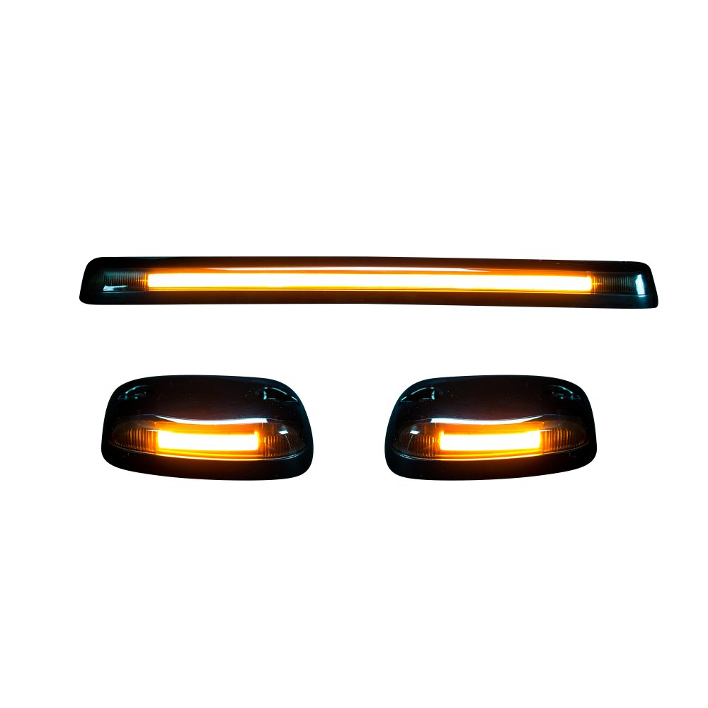 MC & Chevy 07-14 3 Piece Cab Roof Light Set OLED Smoked Lens in Amber