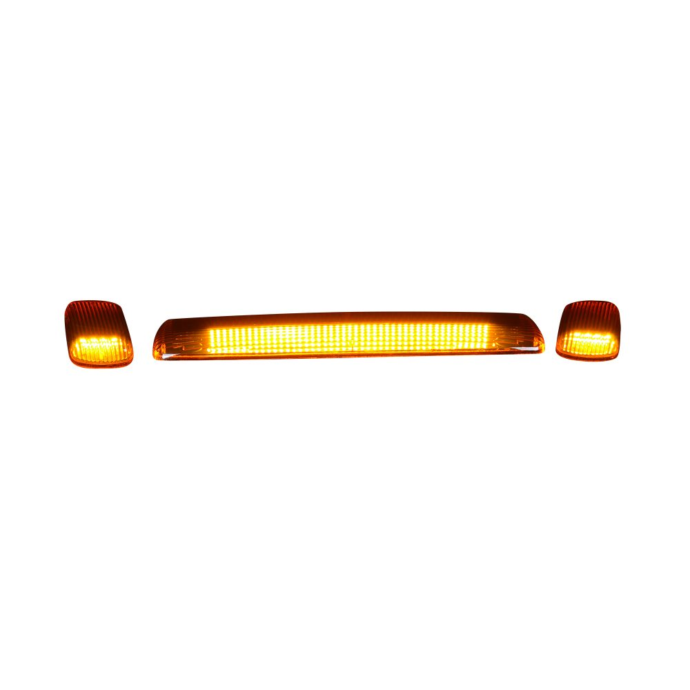 GMC & Chevy 15-19 Heavy Duty 3 Piece Cab Roof Lights LED Amber Lens in Amber