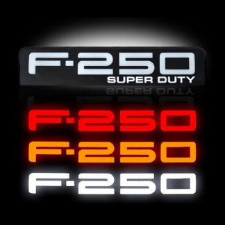 Ford F250 08-10 Illuminated Emblems Black Chrome in Amber, Red & White