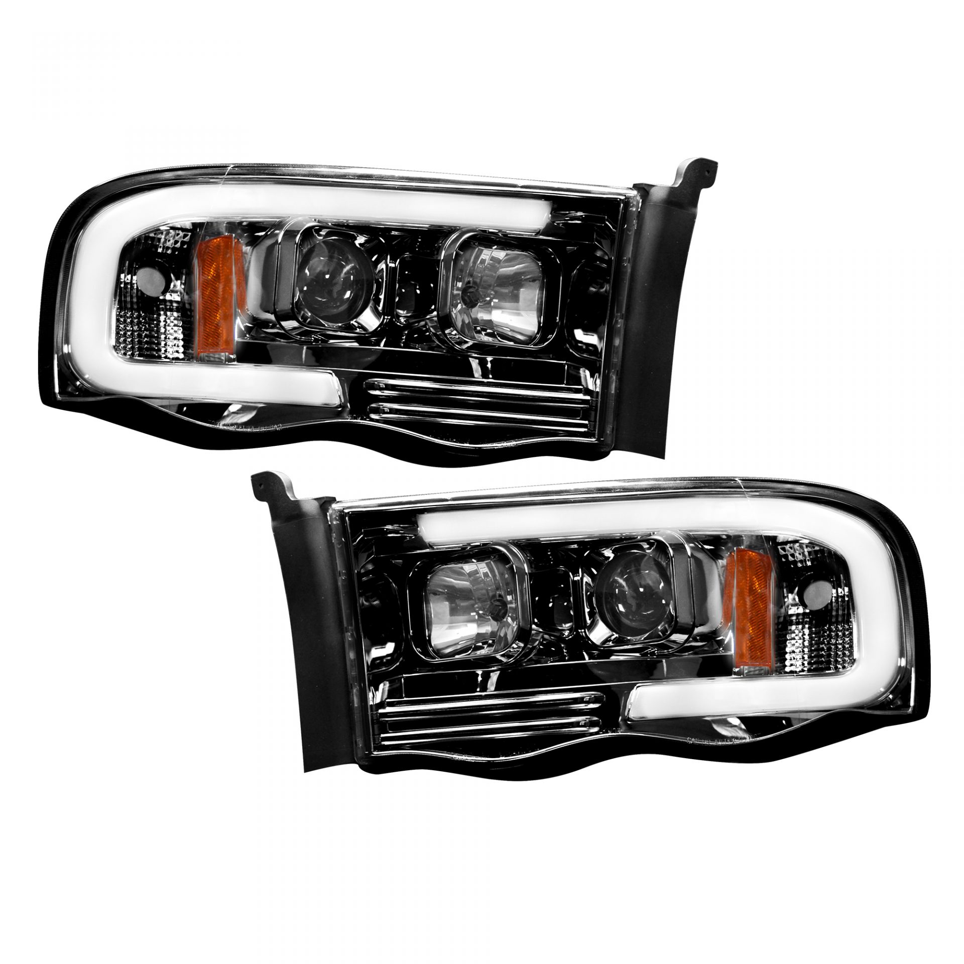 Recon 264191bkc Dodge Ram 02 05 1500 2500 3500 Projector Headlights W Ultra High Smooth Oled Halos Drl Smoked Black