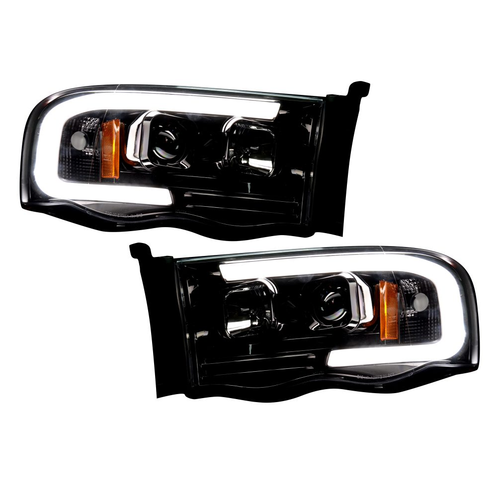 Dodge RAM 1500/2500/3500 02-05 Projector Headlights OLED Halos & DRL in Smoked/Black