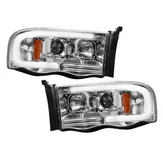 Dodge RAM 02-05 Projector Headlights OLED Halos & DRL in Clear/Chrome