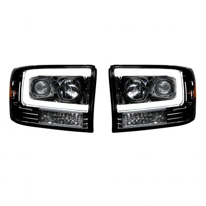 Ford Super Duty 99-04 Projector Headlights OLED Halos DRL Smoked/Black