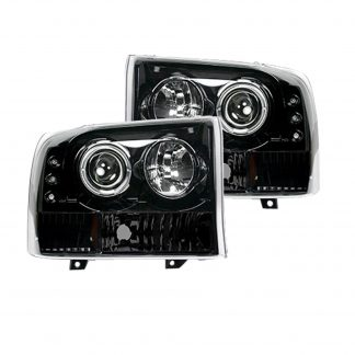 Ford Super Duty 99-04 Projector Headlights in Smoked/Black