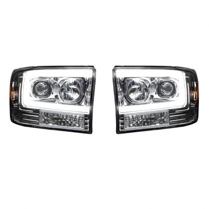 Ford Super Duty 99-04 Projector Headlights OLED Halos & DRL in Clear/Chrome
