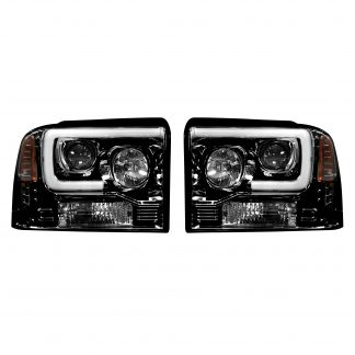 Ford Super Duty 05/07 Projector Headlights OLED Halos DRL Smoked/Black