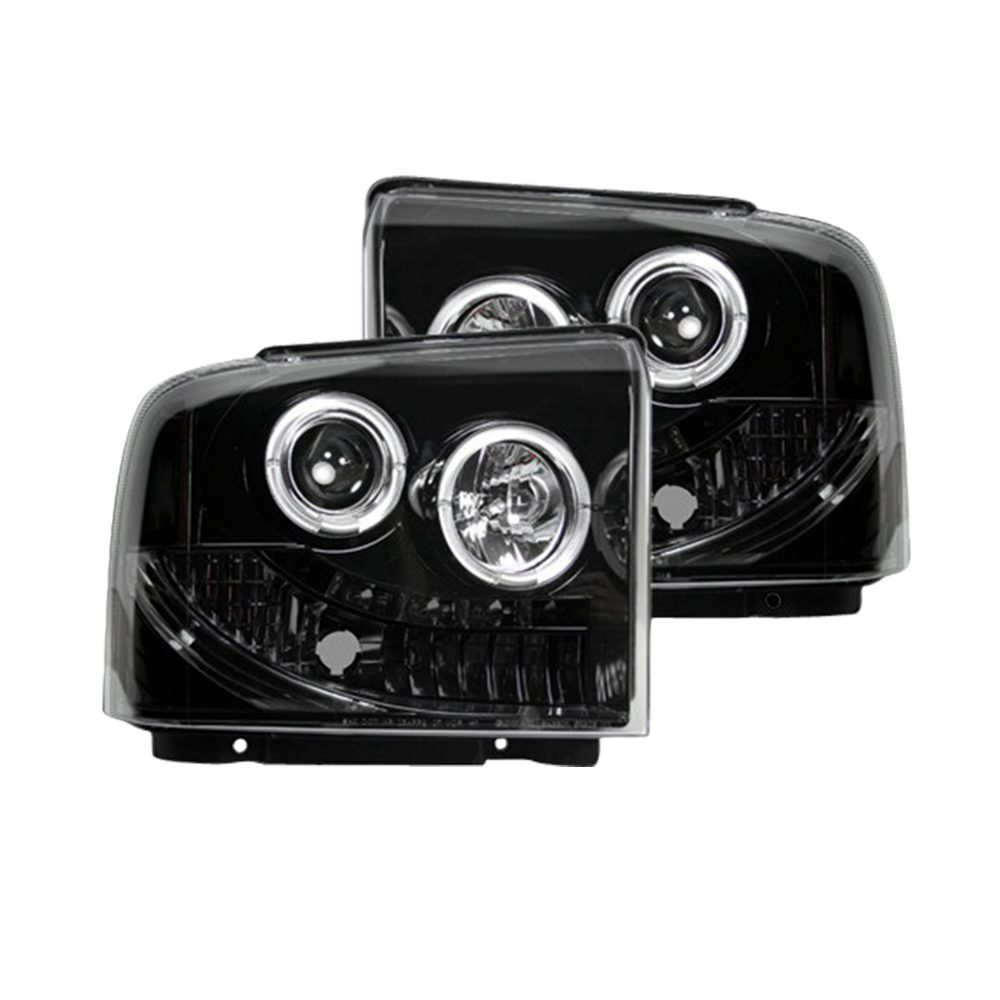 Ford Super Duty 05-07 Projector Headlights in Smoked/Black