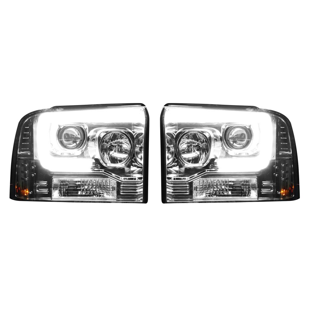 Ford Super Duty 05-07 Projector Headlights OLED Halos DRL Clear/Chrome