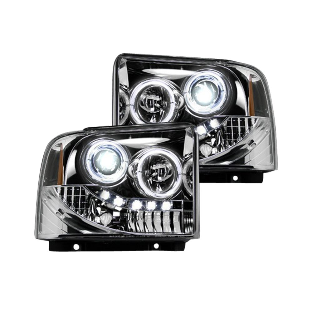 Ford Super Duty 05-07 Projector Headlights in Clear/Chrome