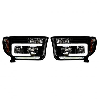 Toyota Tundra/Sequoia 07-13 Projector Headlights OLED Halos DRL Smoked/Blck