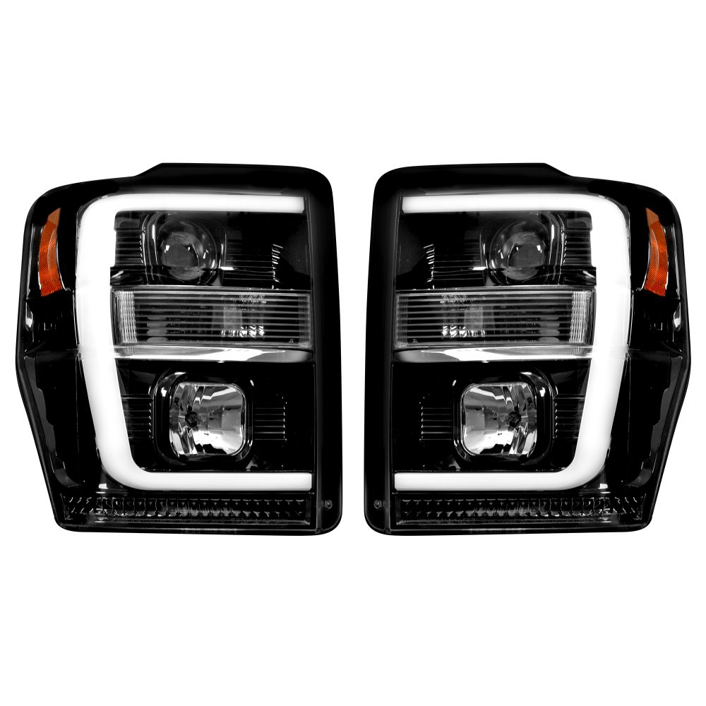 Ford Super Duty 08-10 Projector Headlights OLED Halos DRL Smoked/Black