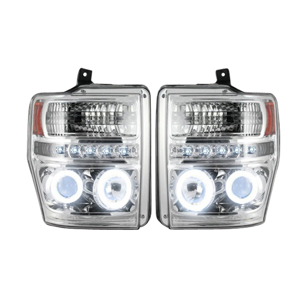 Ford Super Duty 08-10 Projector Headlights CFL Halos & DRL in Smoked/Black