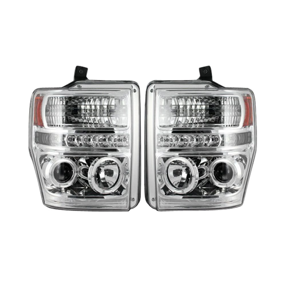 Ford Super Duty 08-10 Projector Headlights in Clear/Chrome