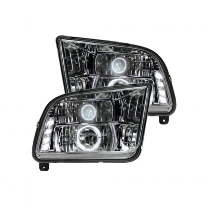 Ford Mustang 05-09 Projector Headlights in Clear/Chrome