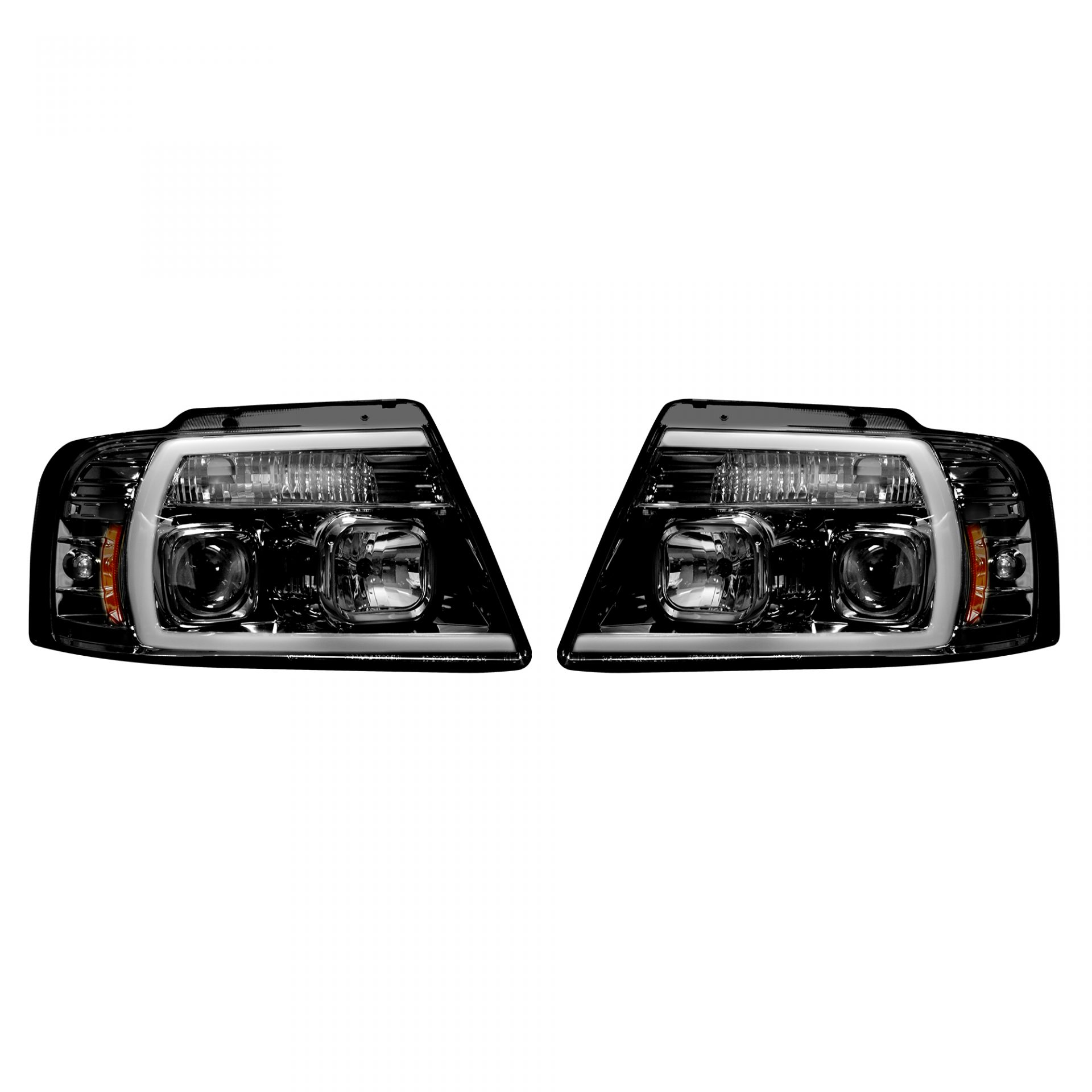 Recon 264198bkc Ford F150 04 08 Projector Headlights W Ultra High Power Smooth Oled Halos Drl Smoked Black