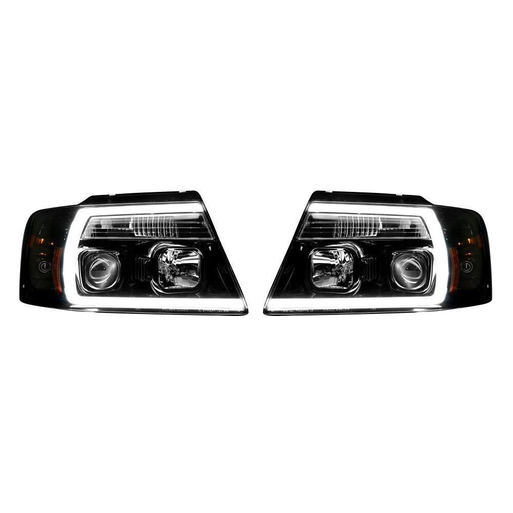 Ford F150 04-08 Projector Headlights OLED Halos & DRL in Smoked/Black