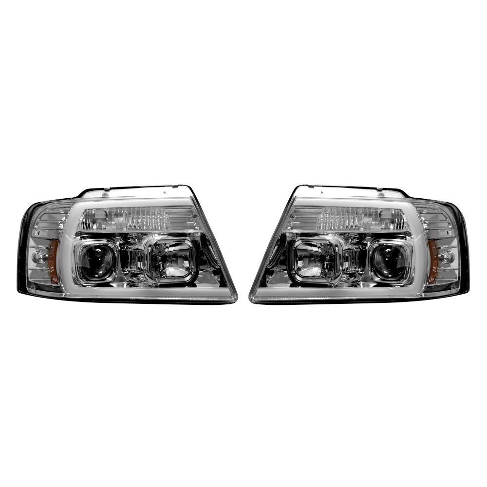 Ford F150 04-08 Projector Headlights OLED Halos & DRL in Clear/Chrome