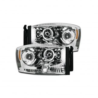 Dodge RAM 1500 06-08 & 2500/3500 06-09 Projector Headlights CCFL Halos & DRL in Clear/Chrome