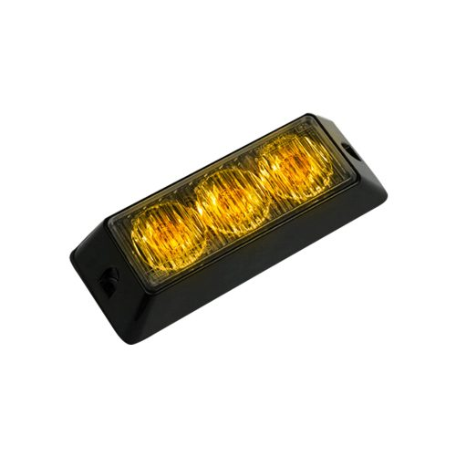 3-LED 12 Function 3-Watt High-Intensity Strobe Light Module w Black Base - Amber Color