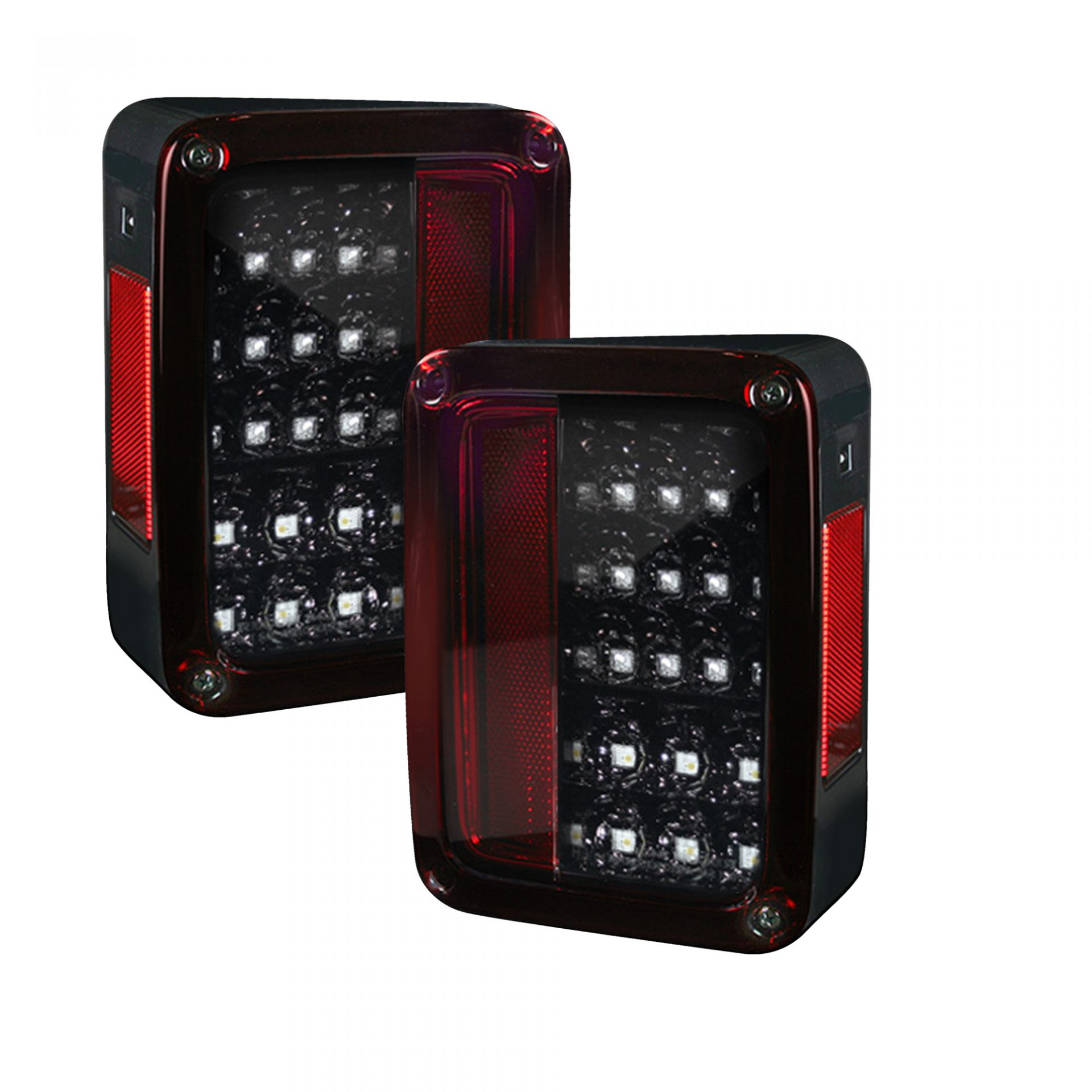 Jeep Wrangler Led Tail Lights >> Recon 264234rbk Jeep 07 18 Jk Wrangler Led Taillights Red Smoked