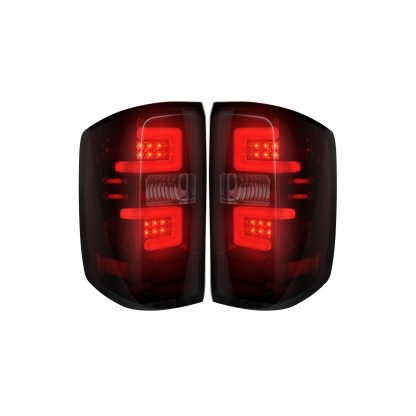 Chevy Silverado 1500 14-18 & 2500/3500 14-19 Replaces OEM Halogen Tail Lights OLED Dark Red Smoked
