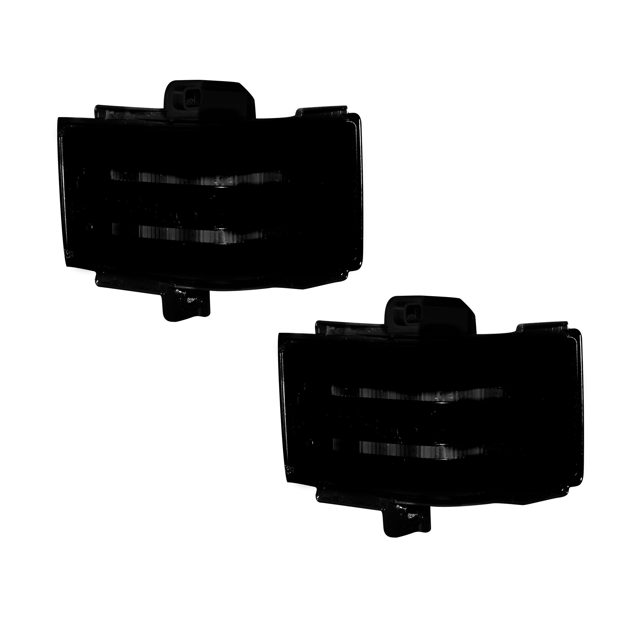 RECON 264245WHBK Ford 17-18 F250/F350/F450 Superduty Side Mirror Lenses  (2-Piece Set) w/ WHITE LED Running Lights, AMBER Scanning LED Turn Signals  &