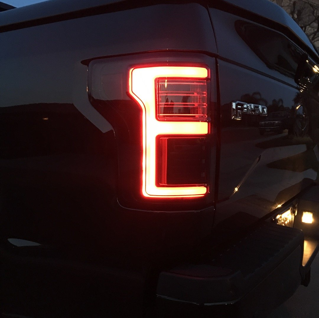 Recon 264268ledbk Ford F150 15 17 Raptor 17 19 Replaces Oem Led Style Tail Lights W Blind Spot Warning System Oled Tail Lights Smoked Lens