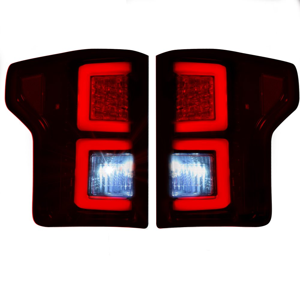 Ford F150 15-17 Tail Lights LED in Dark Red Smoked