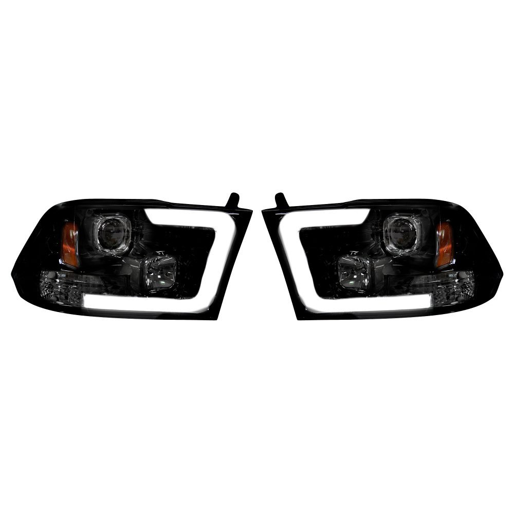 Dodge RAM 1500 09-19 & 2500/3500 10-18 Projector Headlights OLED Halos & DRL Smoked/Black