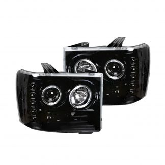 GMC Sierra 07-13 Projector headlights CCFL Halos & DRL in Smoked/Black