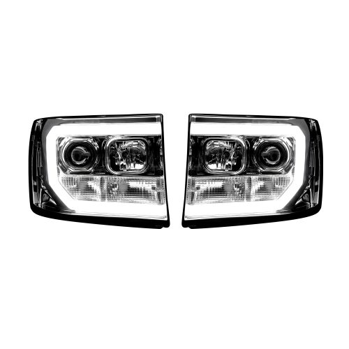 GMC Sierra 07-13 Projector Headlights OLED Halos & DRL Clear/Chrome