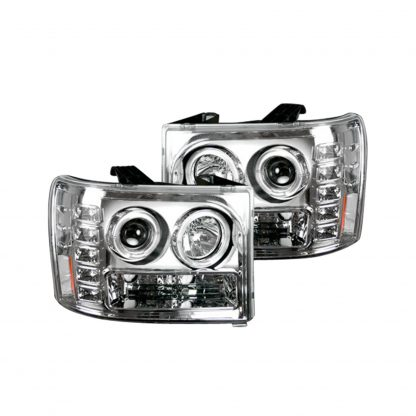 GMC Sierra 07-13 (2nd GEN) PROJECTOR HEADLIGHTS w/ CCFL HALOS & DRL - Clear / Chrome