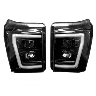 Ford Super Duty F250/350/450/550 11-16 Projector Headlights OLED Halos & DRL Smoked/Black
