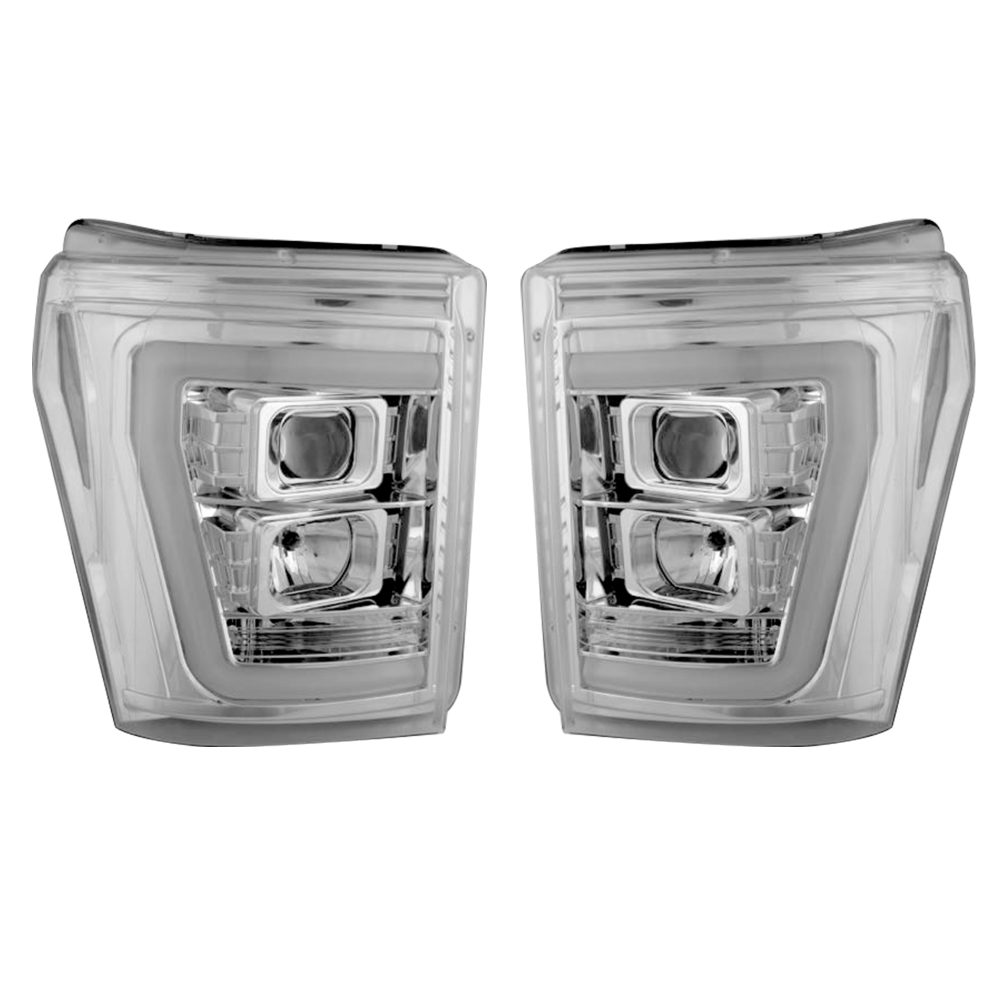 Ford Super Duty F250/350/450/550 11-16 Projector Headlights OLED Halos & DRL Clear/Chrome