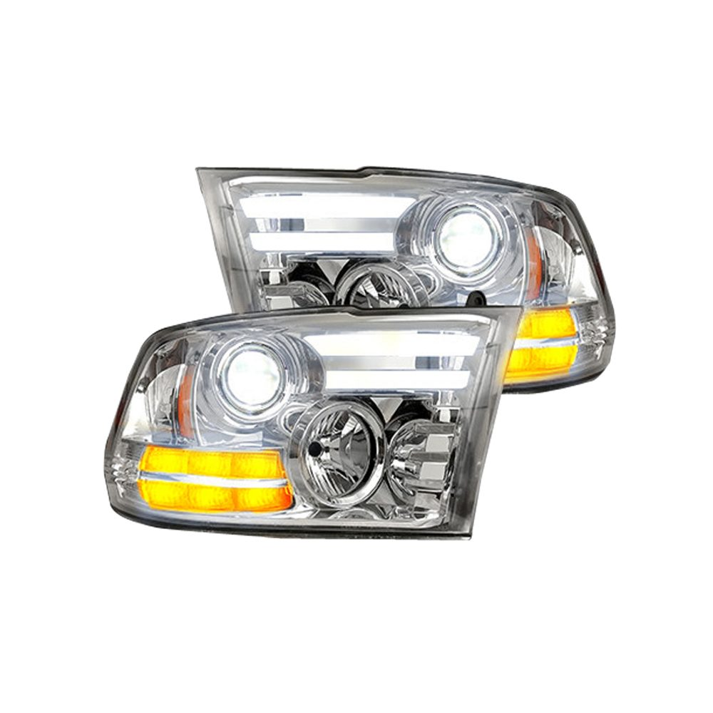 Dodge RAM 1500 14-19 & 2500/3500 15-18 Projector Headlights OLED DRL, LED Clear/Chrome