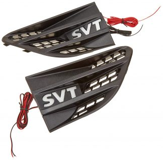 09-14 Ford SVT RAPTOR Illuminated Emblems Driver & Passenger Side Fender Emblems Black SVT WHITE