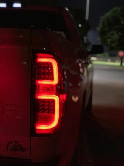 Toyota Tundra 14-19 LED Tail Lights in Smoked night photo 2