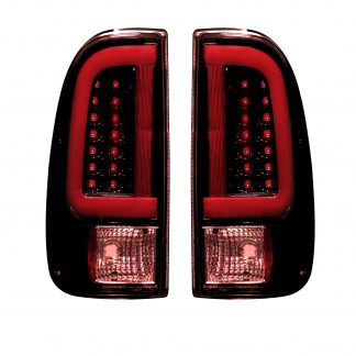 Super Duty F250HD/350/450/550 99-07 & F150 97-03 Straight Tail Lights OLED Dark Red Smoked
