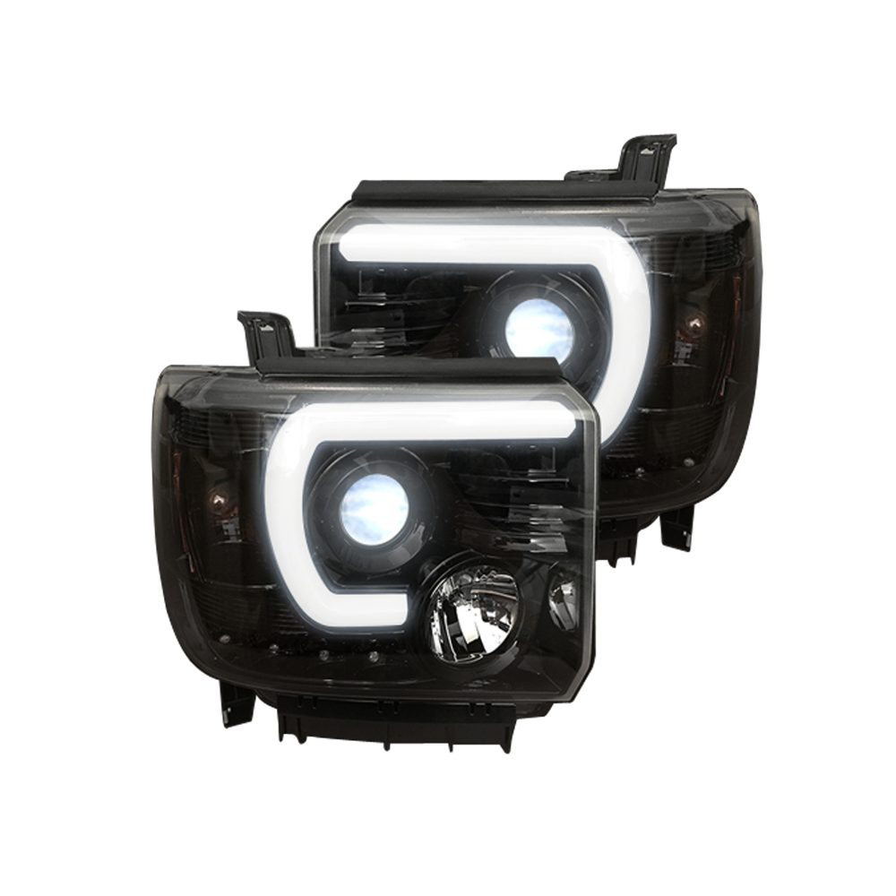 GMC Sierra 1500 14-18 & 2500/3500 14-19 Projector Headlights Smooth OLED Halos & DRL Smoked/Black