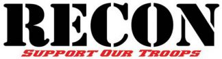 """RECON 264303BK 8"""" RECON Logo """"Support Our Troops"""" Adhesive Decal - BLACK"""