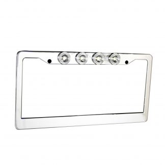Brushed Aluminum License Plate Frame with Four 6000K XML CREE LED Reverse Lights