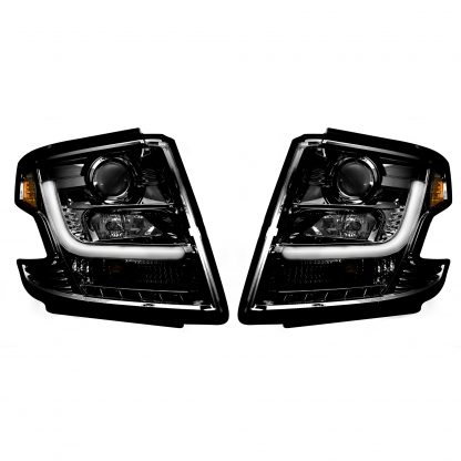 Chevy Tahoe 15-19 Projector Headlights OLED Halos, DRL Smoked/Black
