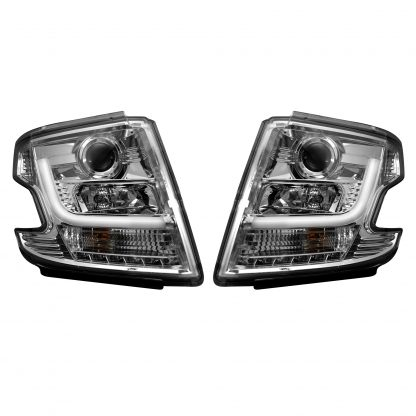 Chevy Tahoe 15-19 Projector Headlights OLED Halos & DRL in Clear/Chrome