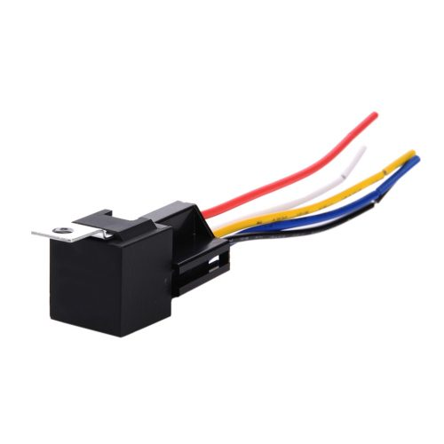 recon 264relay5 5-pin 12-volt 30/40a relay w/ 5-pin interlocking wire  connector – includes 10 inches of 16 awg blue, white, yellow, black & red  wire